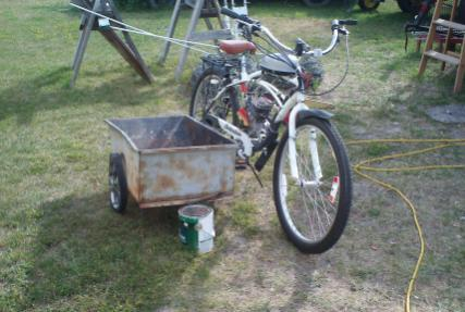 This is a preliminary photo of my sidecar project. I am building it so I can take my grandsons' riding. The bike will be painted desert tan or olive d